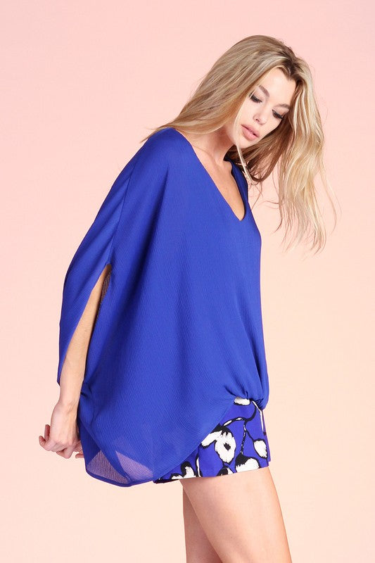 Breezy Caftan Top in Royal Blue