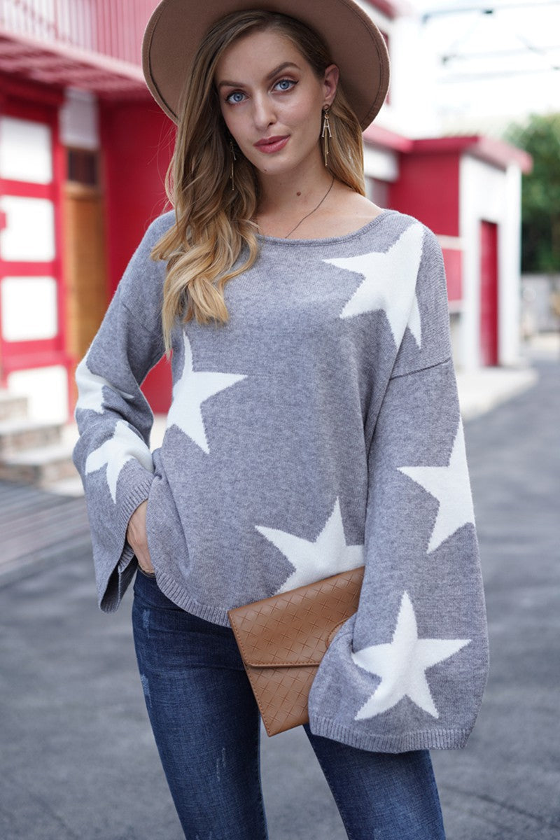 LAST CALL SIZE L | Star Printed Sweater in Heather Grey