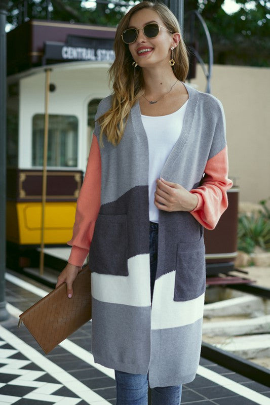 Colorblocked Open Front Cardigan in Apricot