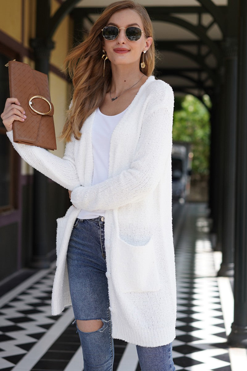 Fuzzy Open Front Cardigan in Off White