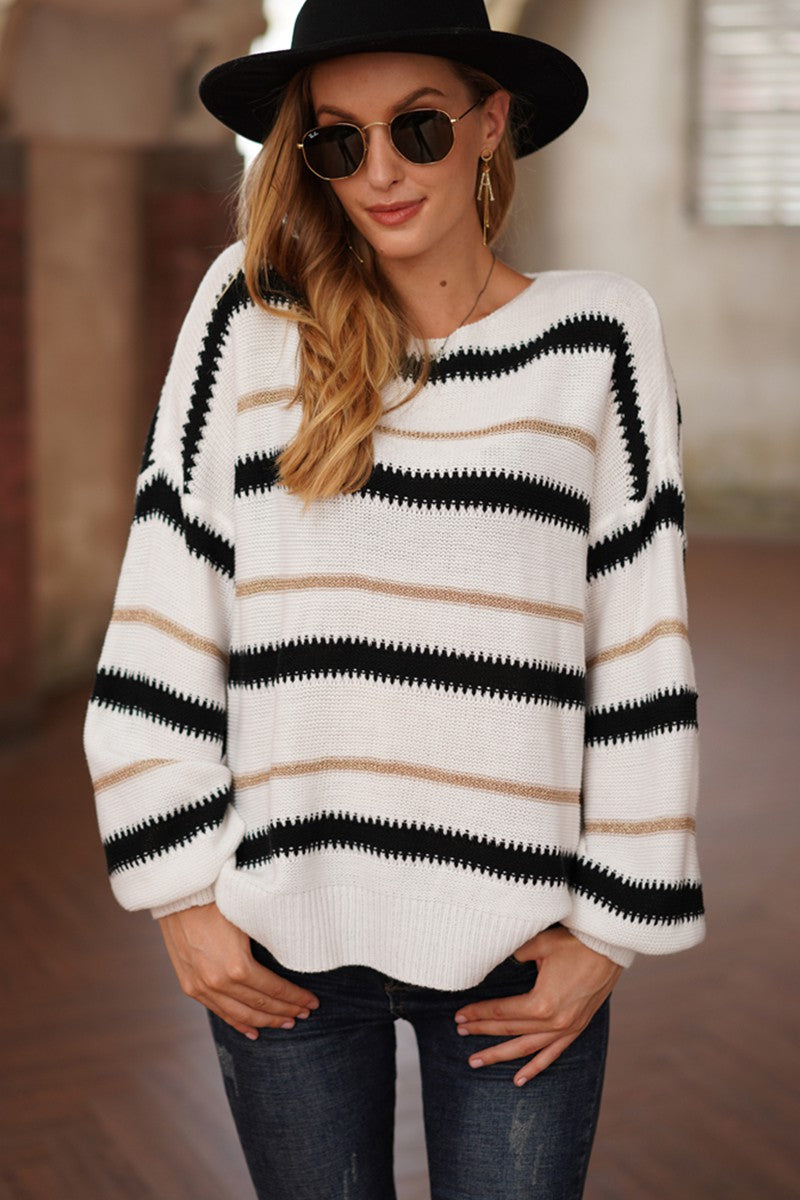 LAST CALL SIZE XL | Striped Bishop Sleeve Sweater in White