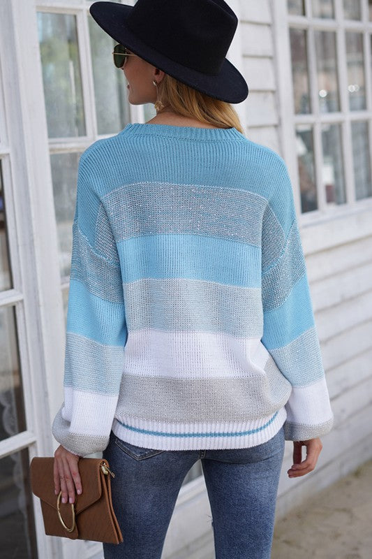 Shades of Blue Striped & Sequined Sweater