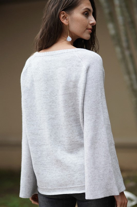 Bell Sleeve V-Neck Sweater in Light Grey