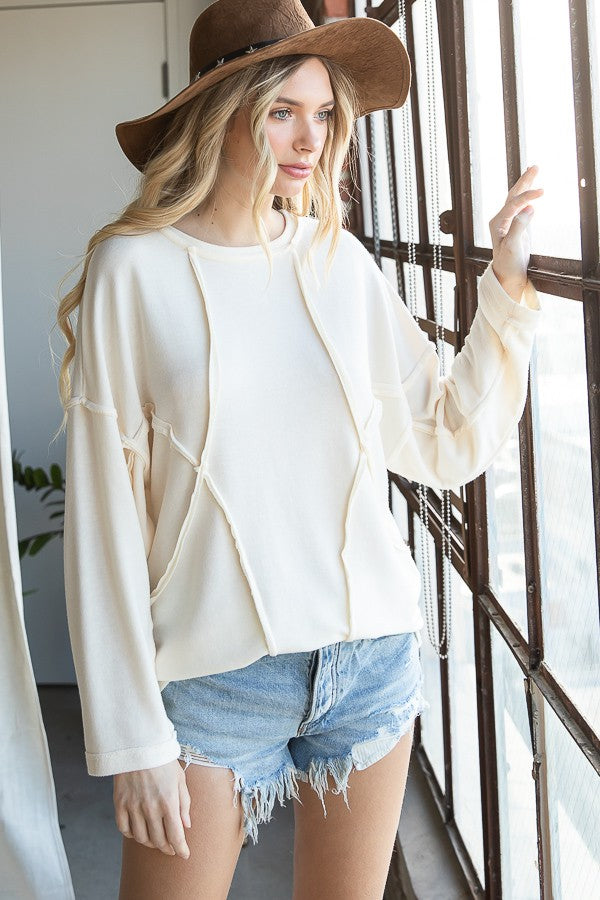 Exposed Seam Detail Long Sleeve Top in Ivory