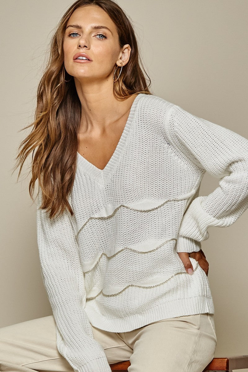 Ivory Scalloped Sweater