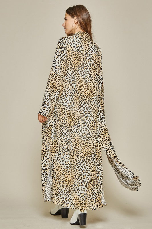 Leopard Print Kimono With Embroidery