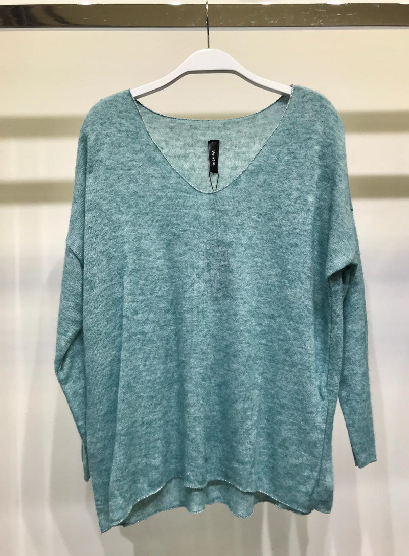 Lightweight Knit Teal Sweater with Shimmery Trim