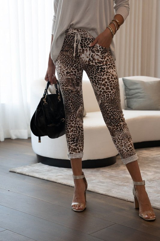 White Cheetah Print Joggers with Lurex Stripe