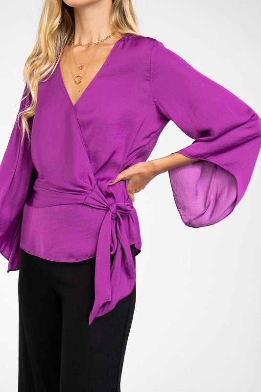 LAST CALL SIZE S | Bell Sleeve Blouse with Self-Tie Waist in Mulberry