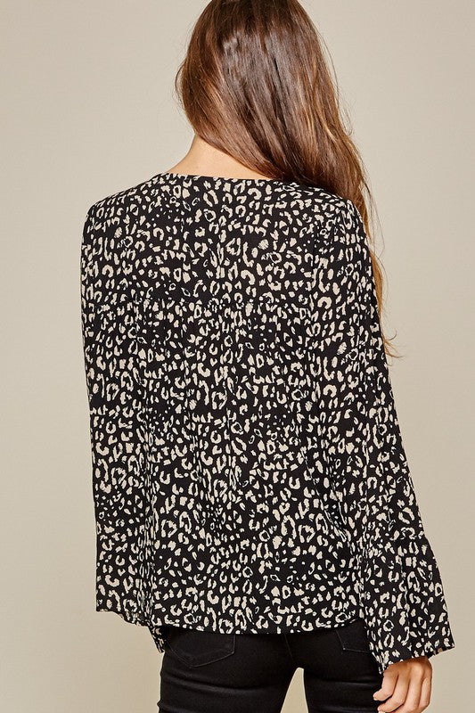 Floral Embroidered Leopard Print Top