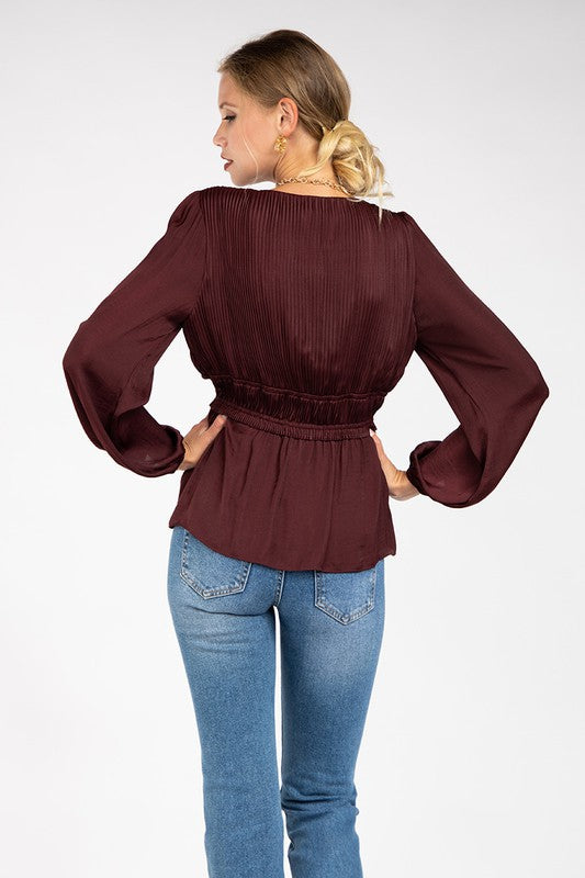 LAST CALL SIZE S | Pleated Gathered Waist Blouse in Merlot