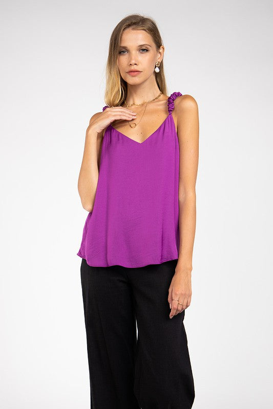 Scrunchy Strap Cami Top in Mulberry