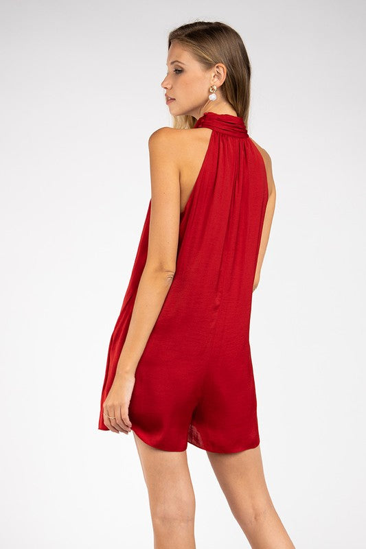 Halter Neck Romper in Ruby Red