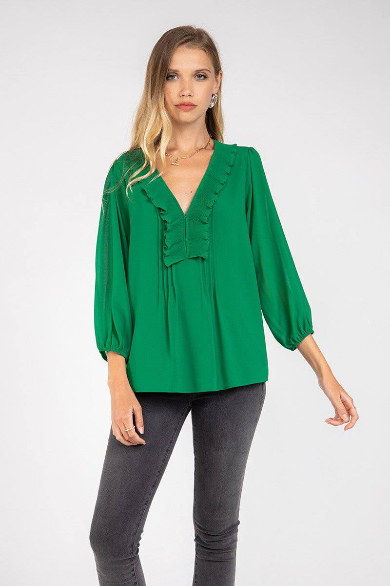 LAST CALL SIZE S | Ruffled Collar Detail Sheer Sleeve Blouse in Jewel Green