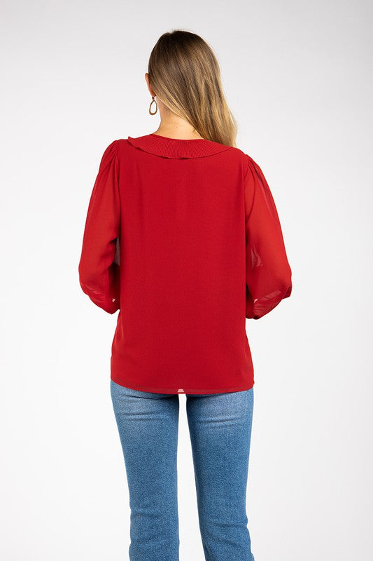 Ruffled Collar Detail Sheer Sleeve Blouse in Ruby Red