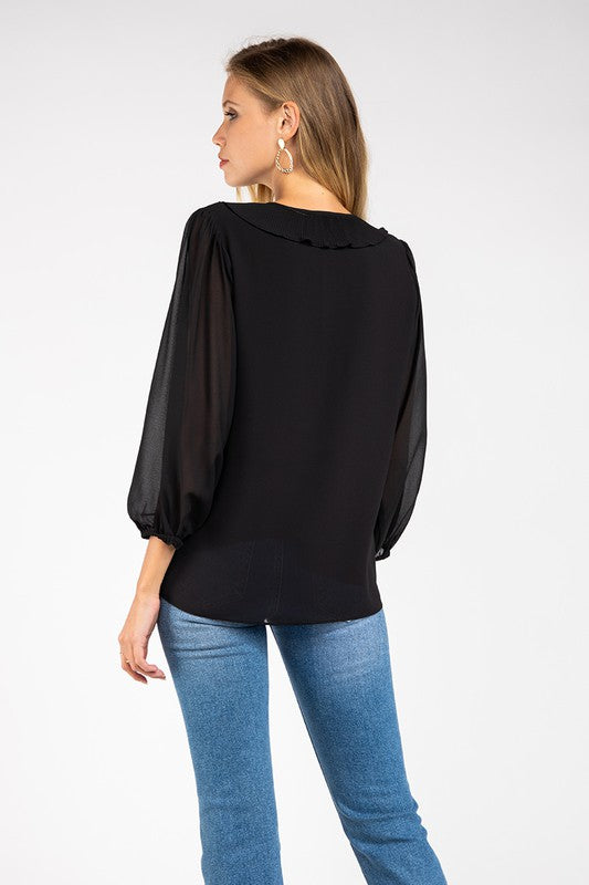 Ruffled Collar Detail Sheer Sleeve Blouse in Black