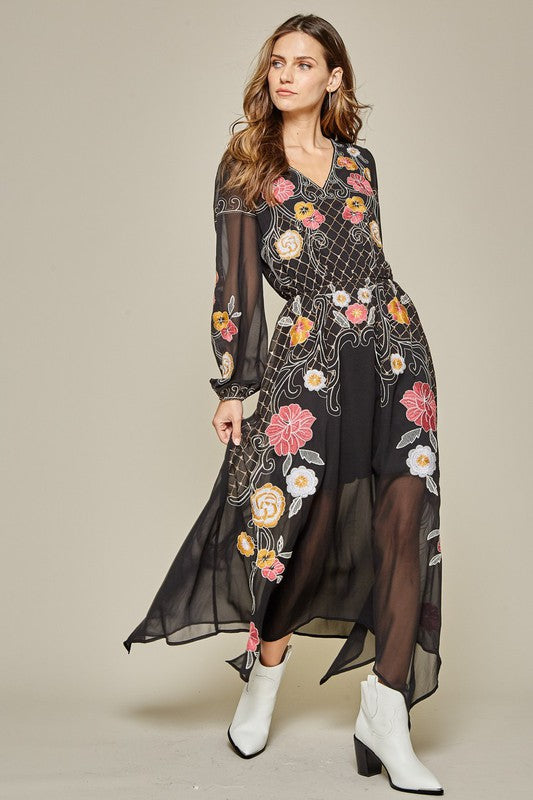 LAST CALL SIZE S | Black Embroidered Maxi Dress