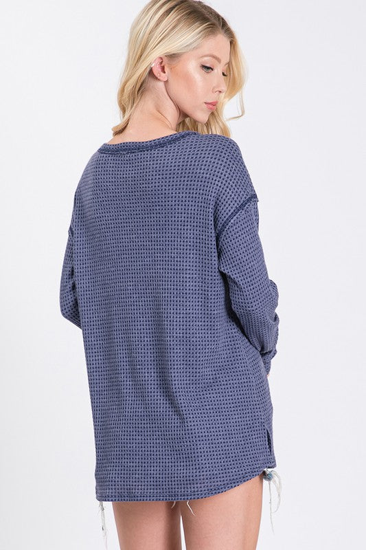 Waffle Knit Long Sleeve Knit Top in Navy