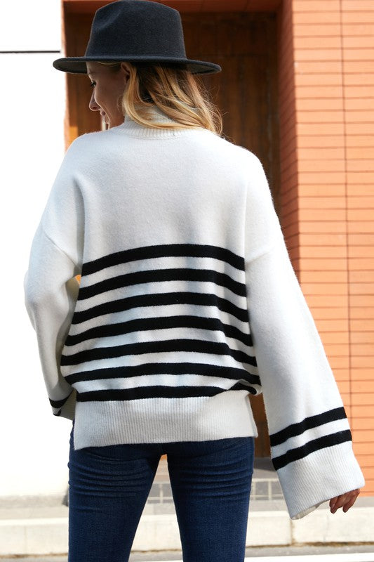 Striped Bell Sleeve Sweater in White