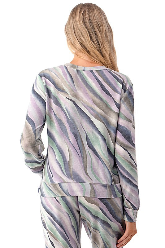 Exotic Watercolor Brush Twist Front Long Sleeve Top