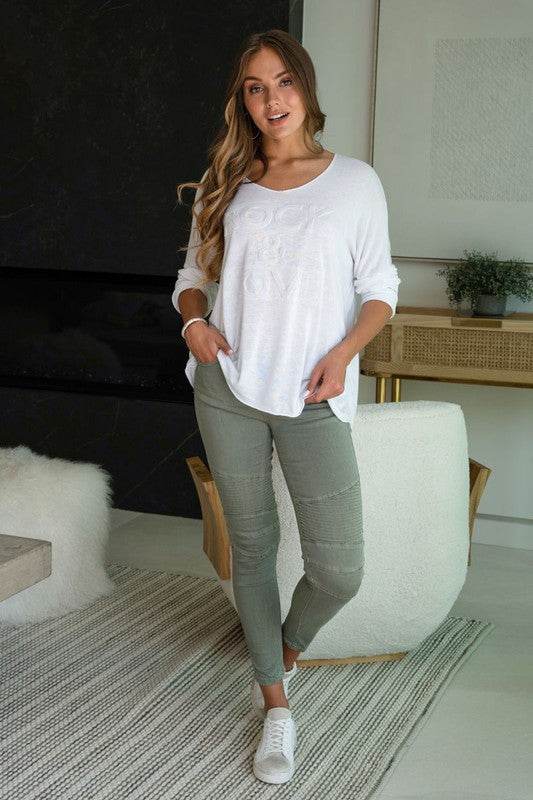 Moto Stretch Skinny Pants in Army Green