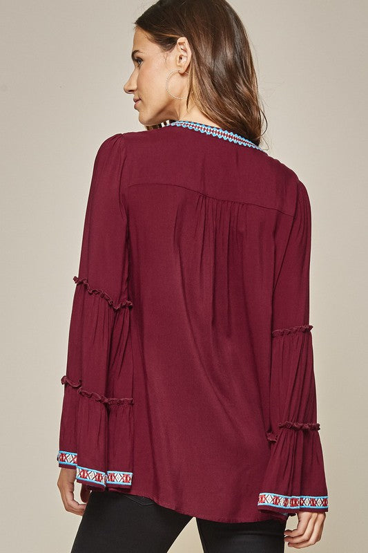 Maroon Embroidered Top