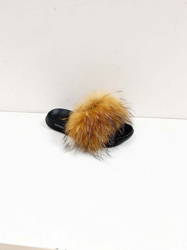 Fluffy Faux Fur Slipper Sandals in Tan
