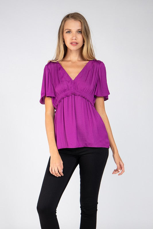 Short Sleeve V-Neck Blouse with Gathered Waist in Mulberry
