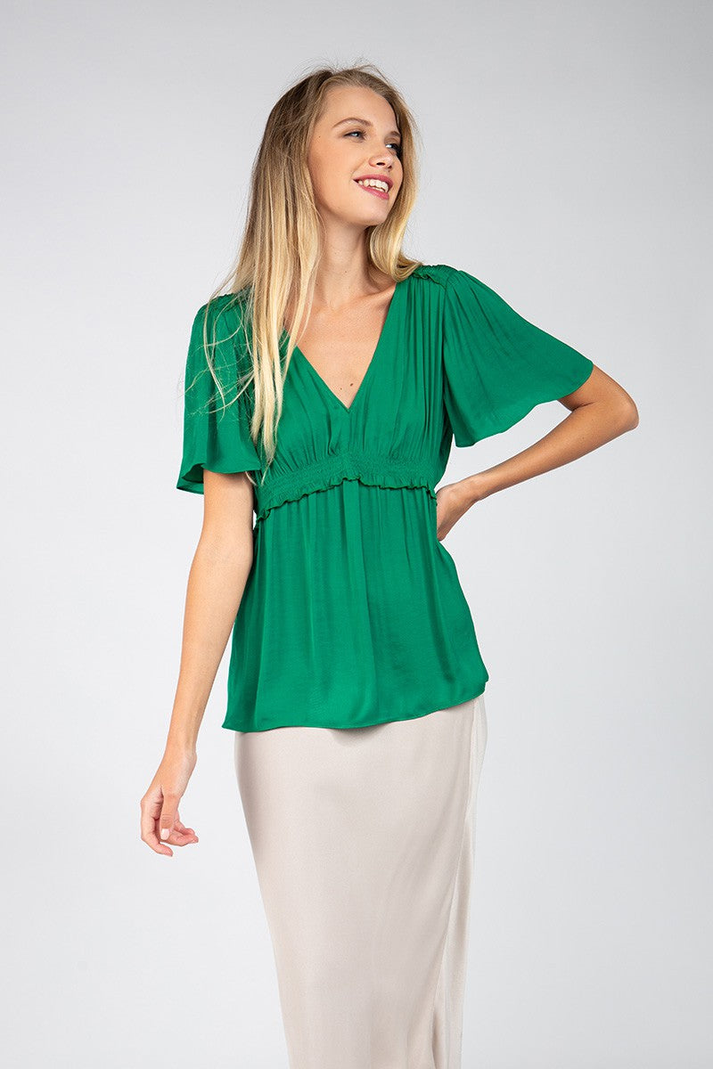 LAST CALL SIZE L | Short Sleeve V-Neck Blouse with Gathered Waist in Jewel Green