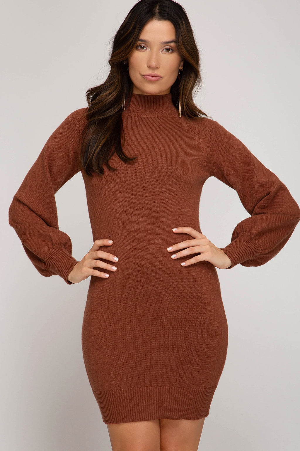 LAST CALL SIZE S | Long Sleeve Sweater Dress in Cinammon