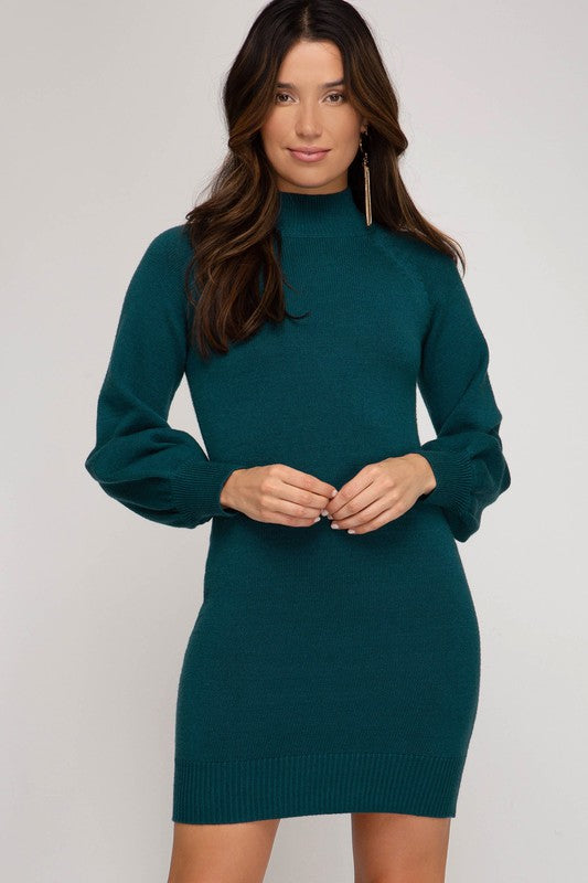 LAST CALL SIZE M | Long Sleeve Sweater Dress in Teal