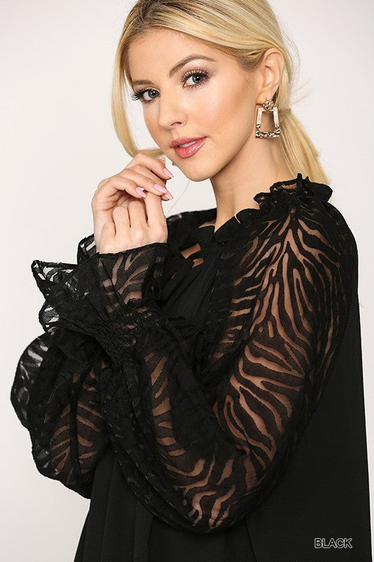 Zebra Burnout Sleeve Blouse