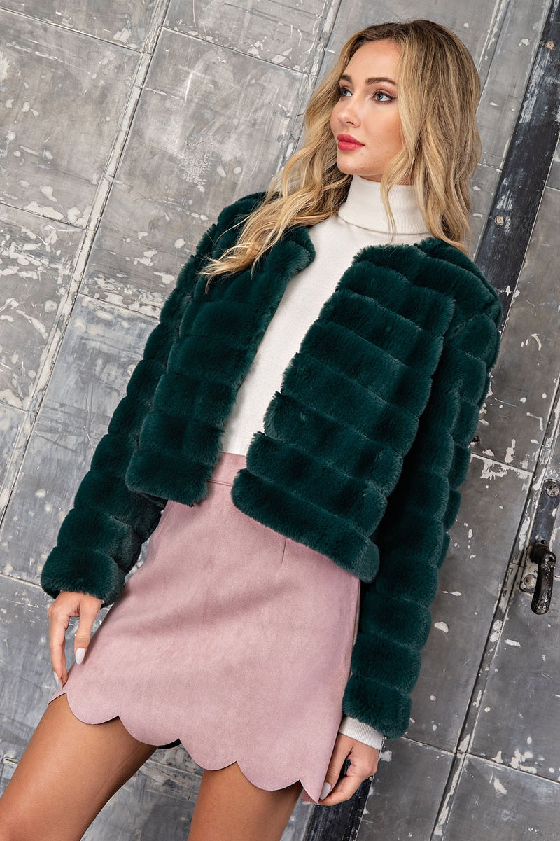 Cropped Faux Fur Jacket in Hunter Green