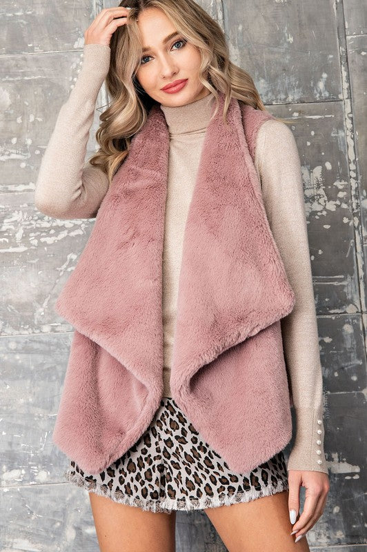 Faux Fur Vest in Mauve