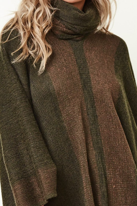 LAST CALL SIZE OS | Knit Poncho in Olive