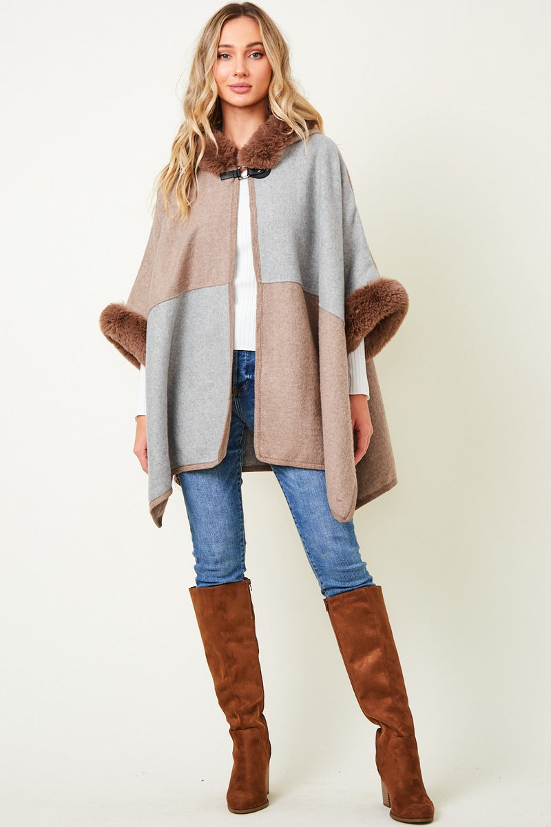 Fur Trim Colorblock Hoodie Jacket with Front Closure