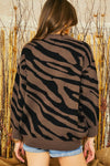 LAST CALL SIZE M/L | Crewneck Zebra Knit Sweater