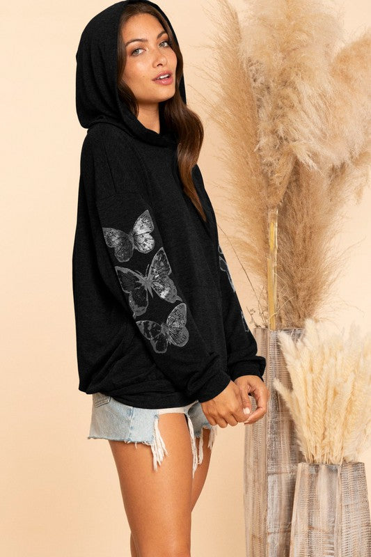 Hooded Butterfly Top in Black French Terry
