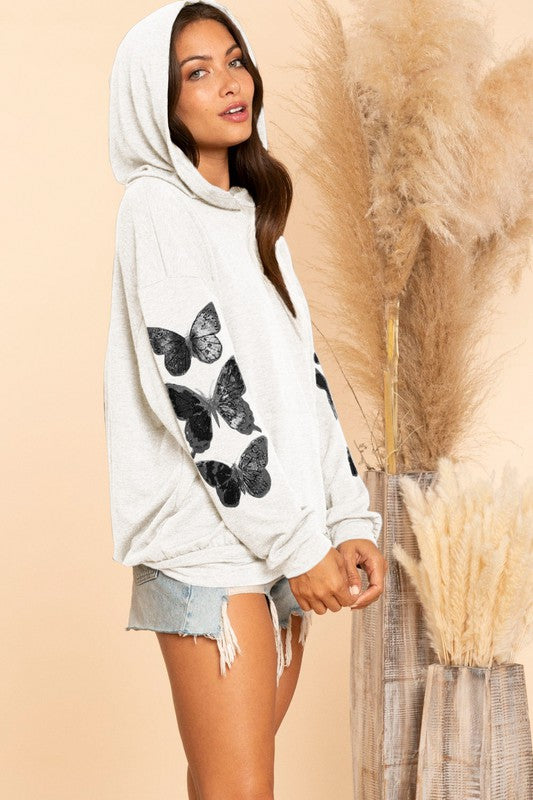 Hooded Butterfly Top in Cream French Terry