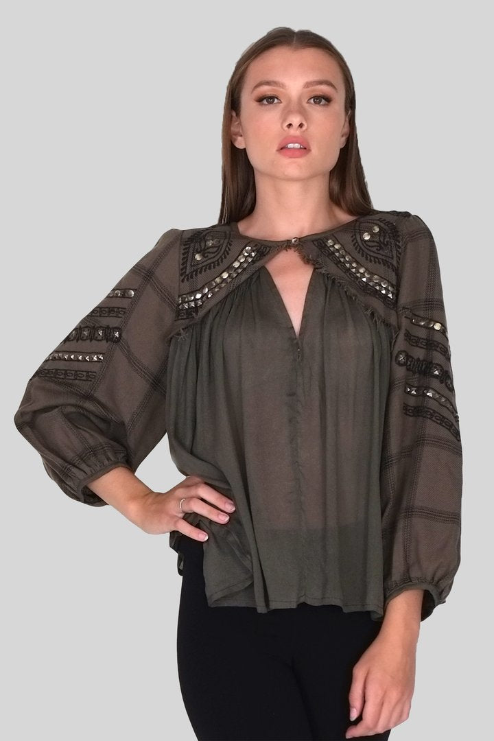 LAST CALL SIZE O/S | Bohemian Studded Blouse in Dark Olive
