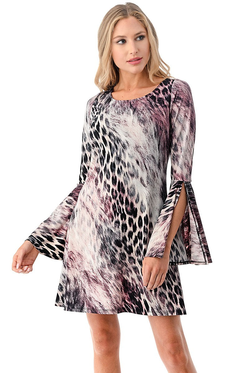 Split Bell Sleeve Dress in Abstract Animal Print