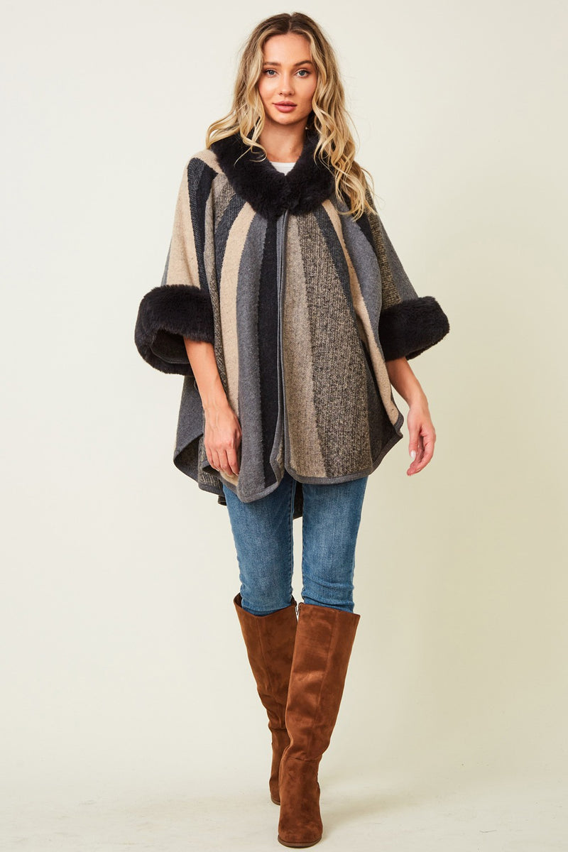 Fur Trim Striped Cape Jacket