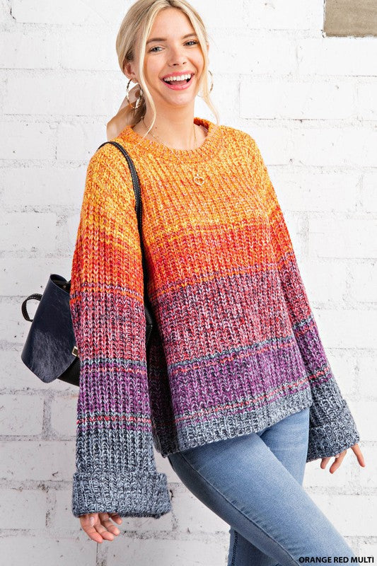 Multicolor Bell Sleeve Sweater