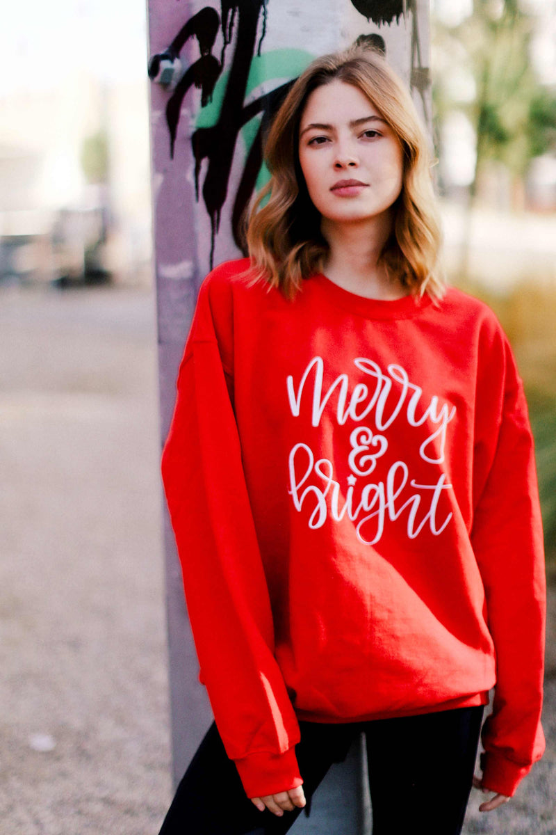 LAST CALL SIZE S | Merry & Bright Holiday Graphic Sweatshirt in Red