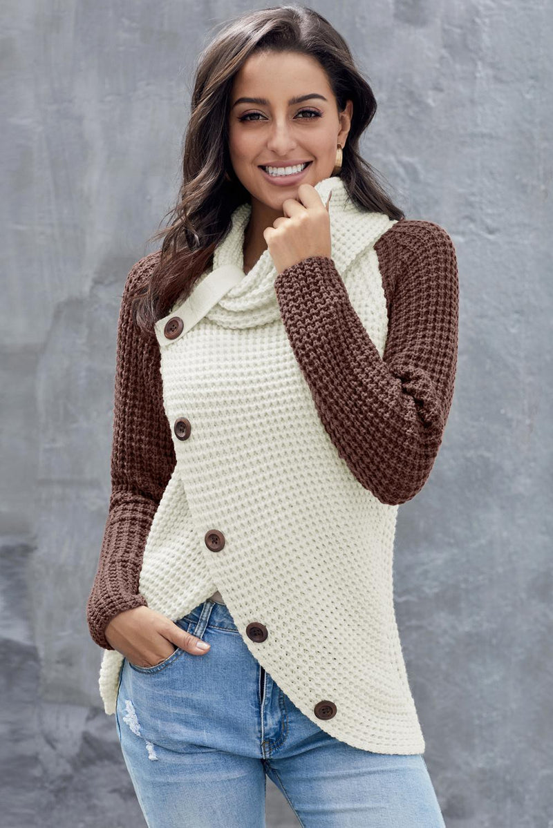 Long Sleeve Cowl Neck Colorblock Sweater