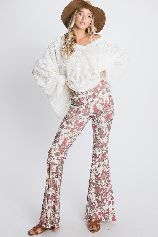 Floral Print Bell Bottom Flare Pants