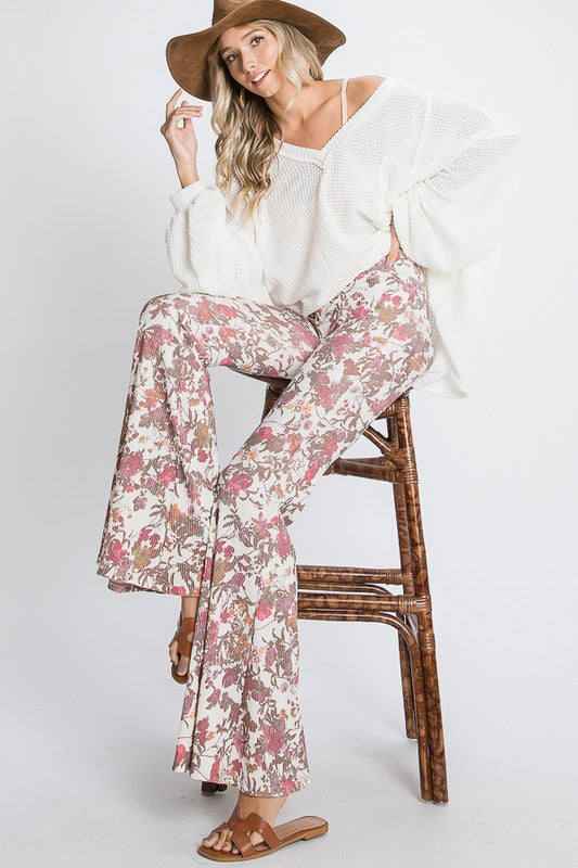 Floral Print Flare Pants
