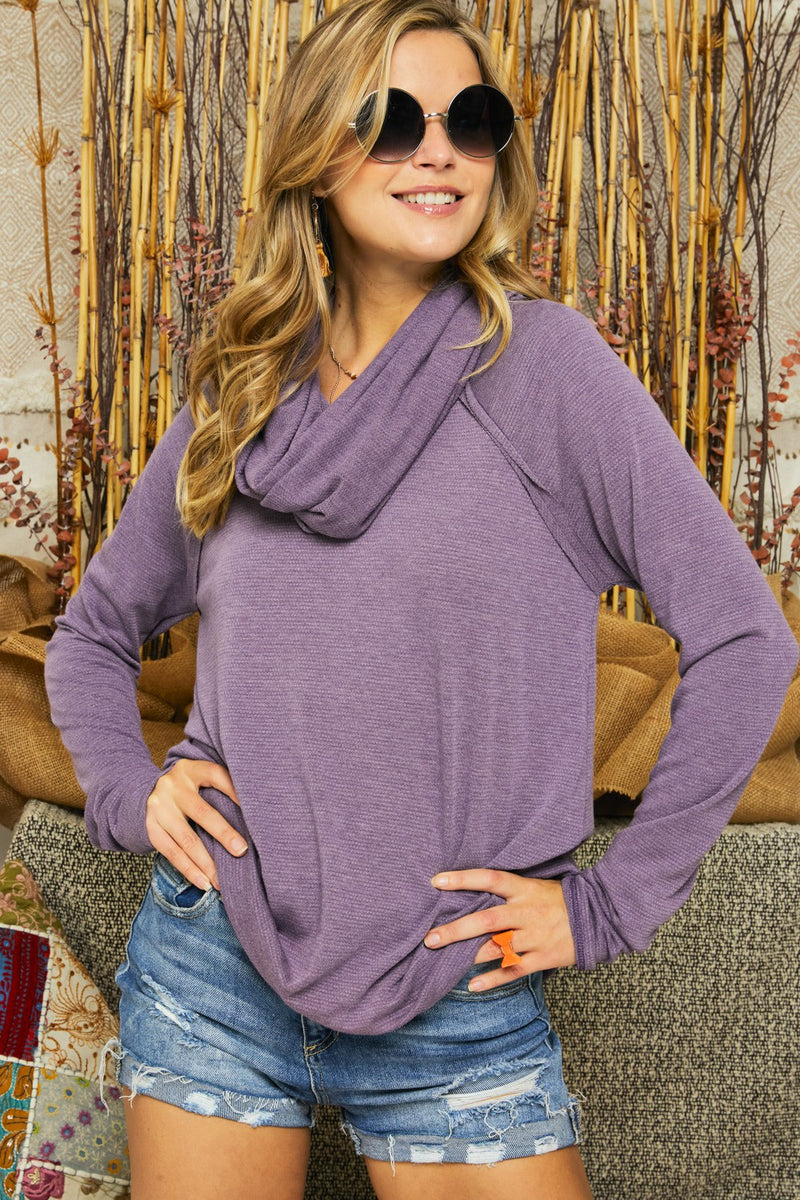 Soft Knit Cowl Neck Top in Purple