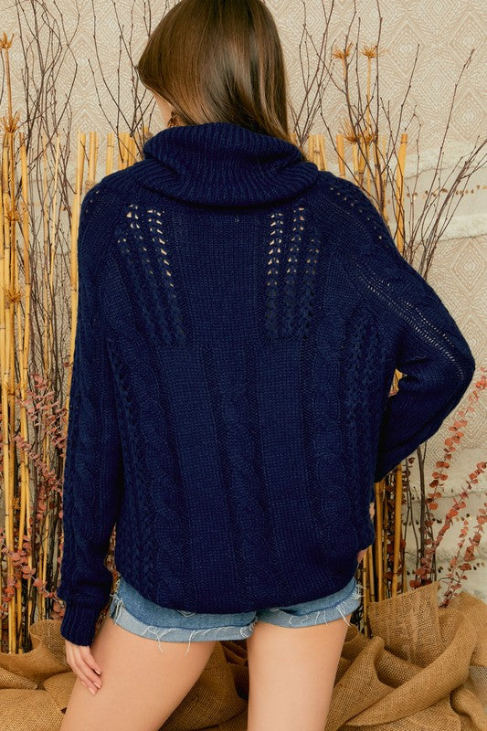 Open Cable Knit Cowl Neck Sweater in Navy