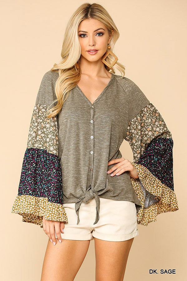 Mixed Knit Bell Sleeve Top in Dark Sage